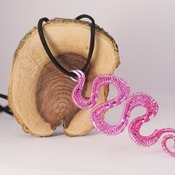 Pink Purple Necklace Snake Effect Wire Pattern Accessories Handmade Pretty Beads