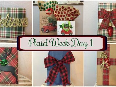 PLAID WEEK DAY 1   DOLLAR TREE DIY: Plaid Gift Wrapping PT 1