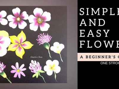 Quick and easy flowers - Acrylic painting for beginners | Diy | step by step