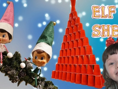 STACKING CUPS Tower ELF on the SHELF Magic makes GIANT DIY Christmas Tree from Cups