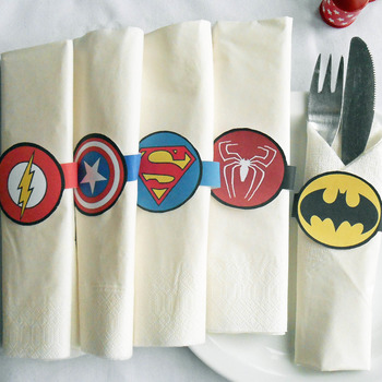 Super Hero 15 Napkin Rings Paper Digital Download