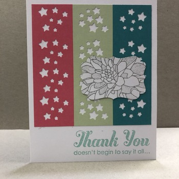 """Thanks"" 3 Star Cut-out Panels Floral"