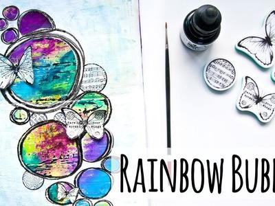 Art Journal Page Process - Rainbow Bubbles