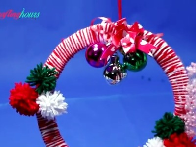 Beautiful Christmas Wreath with Cardboard and Yarn