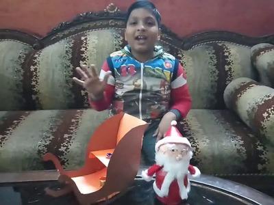 Christmas Crafts   Easy To Make Santa Sleigh By Vihaan Goel