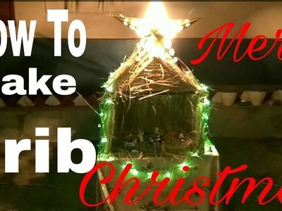 DIY Christmas Crib with light(miniature) | Amazing Crib | How To Make Charni