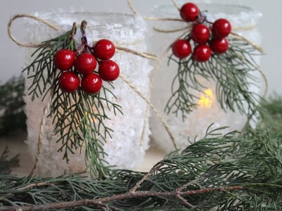 DIY CHRISTMAS DECORATIONS | DIY Mason Jar Candle Holders