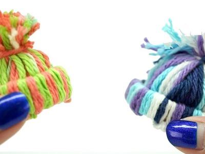 DIY miniature yarn hats! SUPER EASY!