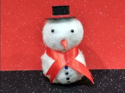 Easy way to make a snowman with paper and cotton