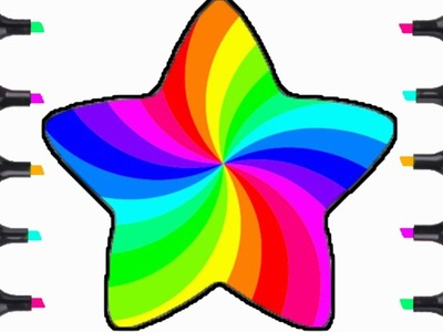 How To Draw Beautiful Rainbow Star | Coloring Pages For Kids | Learn Rainbow Coloring