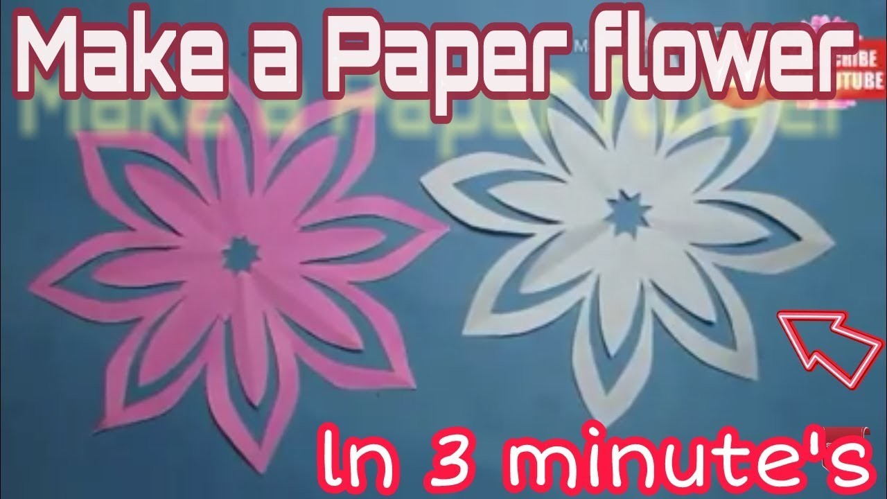 How to make easy & best paper flower   Paper cutting flower by All in one