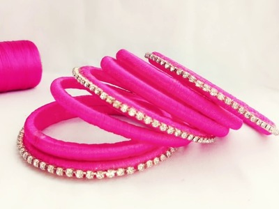 HOW TO MAKE SILK THREAD BANGLE.PINK COLOUR.DIY