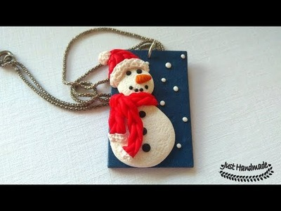 ~JustHandmade~ Easy polymer clay (fimo) snowman pendant tutorial