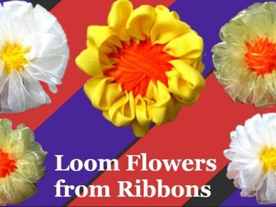 Loom flower with handmade loom maker step by step|Satin ribbon craft idea.Easy loom flower making