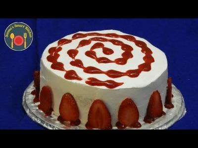 New year Eggless  स्ट्रॉबेरी केक -  DIY Christmas Strawberry Cake - Seema's Smart Kitchen