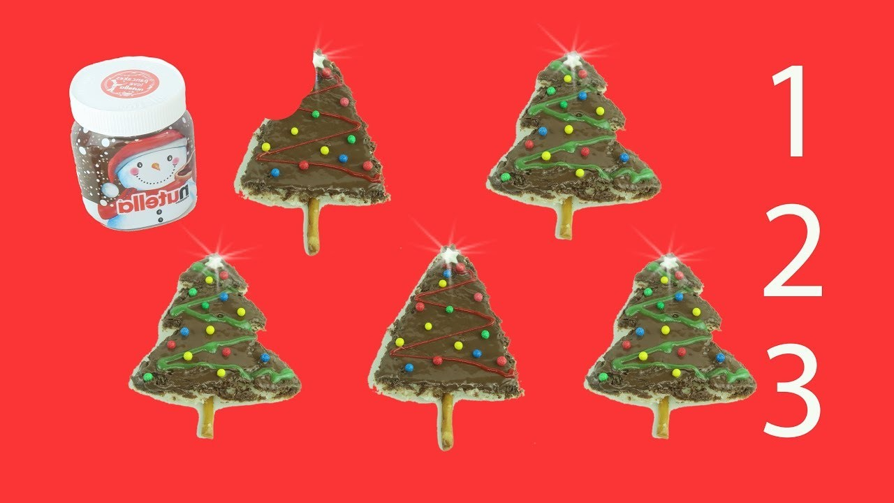 No Bake Christmas Tree Cookie for Kids.DIY Christmas Snack.Counting 1 to 5 Activity.Nutella Treats