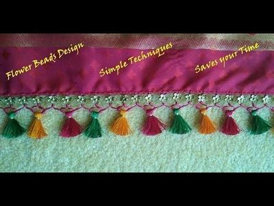 Saree Kuchu.tassel with flower beads- Simple techniques
