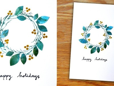 Simply Pretty - Winter Wreath Card in Watercolor for Christmas, Holiday or Season's Greetings