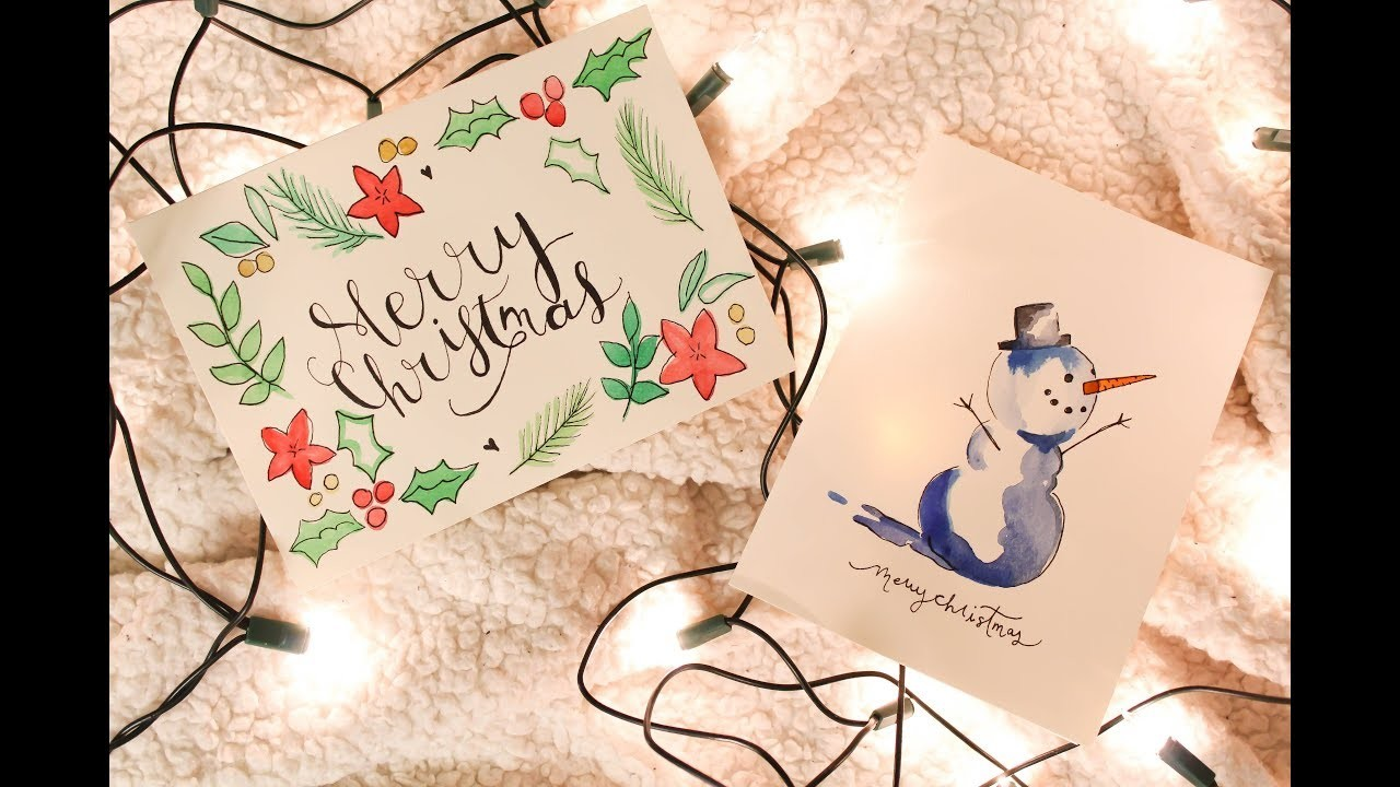 Two Christmas Card Ideas - Watercolor Painting Time Lapse