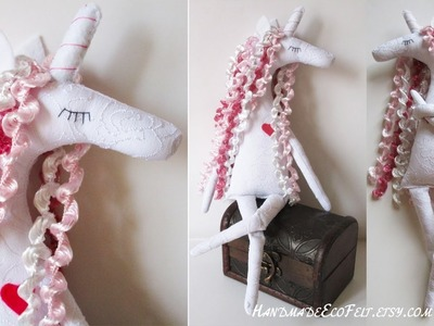 Unicorn doll Tilda fabric. Felt sewing toy for girl. Toys baby gift. Be a unicorn. Fairytale gifts