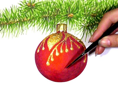 Watercolor Painting of Christmas Ornaments #painting #Christmas #christmasornaments