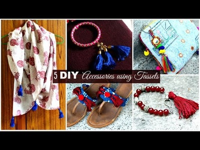 5 DIY Accessories Using Tassels | Buddha Bracelet, Scarf, Tassels Bangles, Ethnic Flats, Bag Charm