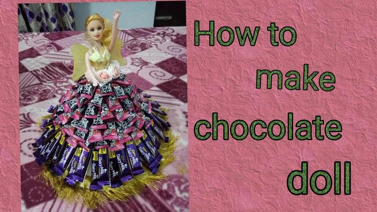 53. DIY chocolate candy doll.how to make candy dress