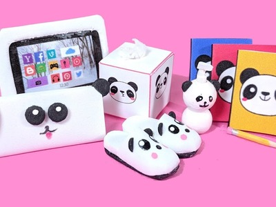 6 DIY Panda Miniatures -  Tablet Case, Pencil Case, Notebooks, Slippers, Soap Dispensers, & Tissue