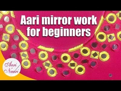 Aari Mirror Work   square and round mirror work   aari work for beginners   Aari work