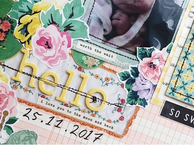 Baby Scrapbook Process   Creating A First Year Baby Book   Ep 05   12x12 Layout   Hello