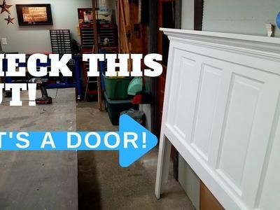 Beautiful DIY HEADBOARD from an old wood door! Its EASY