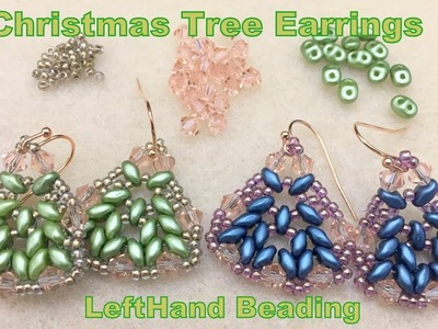 Christmas Tree Earrings--LeftHand beading tutorial