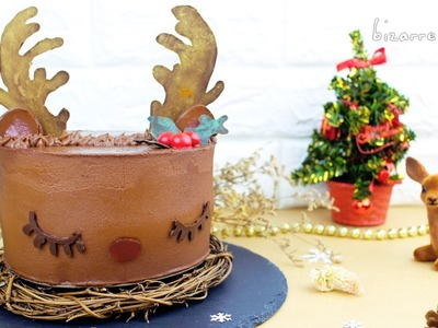 DIY Baileys Irish Cream & Chocolate Mousse Reindeer Cake for Christmas???? | d for delicious