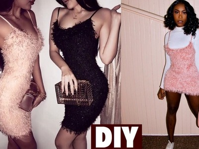 DIY. EASY FUZZY MINI DRESS WITH SPAGHETTI STRAPS. 5 mins DIY