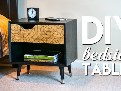 DIY Mid-Century Modern Bedside Table. Nightstand with Ebonized Oak   How To Build - Woodworking