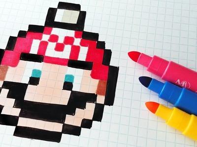 Handmade Pixel Art - How To Draw a Super Mario Bros Christmas Ball Tree #pixelart