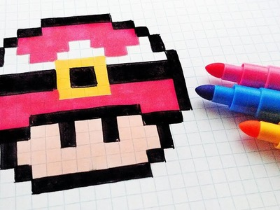 Handmade Pixel Art - How To Draw a Musroom Santa Claus #pixelart