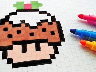 Handmade Pixel Art - How To Draw a Mushroom Christmas Cake #pixelart