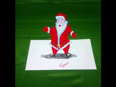 How to draw 3D Santa Claus Easy steps Perspective Illusion. Kalavum Katru Mara