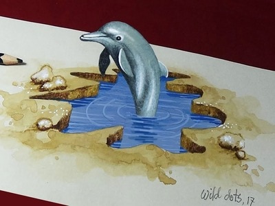 How To Draw A 3D Dolphin   3d Art   Optical illusion  