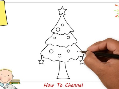 How to draw a christmas tree EASY step by step for kids, beginners, children