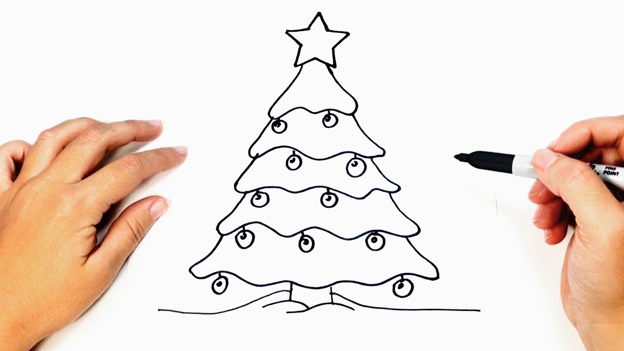 how to draw a christmas tree step by step easy drawings