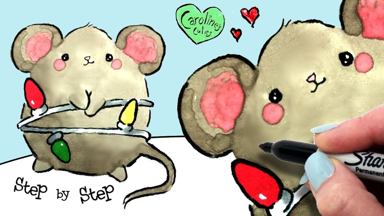 Cute Christmas Drawings.How To Draw A Cute Christmas Mouse Step By Step Easy Kawaii