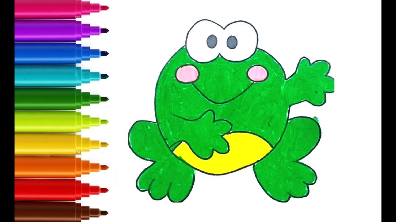 How To Draw And Color Cute Frog Easy Coloring Book For Kids