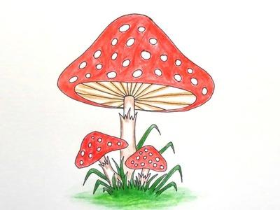 How to draw Mushroom step by step ||very easy||