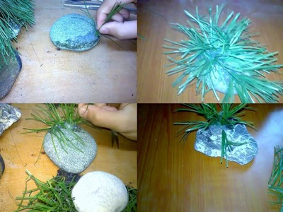 HOW TO MAKE DIY FISHTANK DECORATION WITH ROCKS AND PLASTIC PLANTS