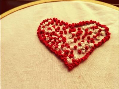How to make hand embroidery heart shape design