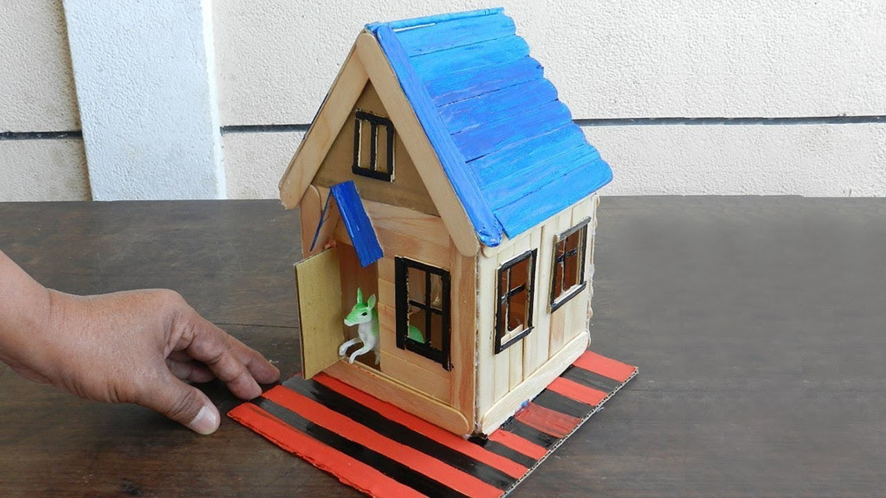 How to Make Popsicle Stick House for Rat, 4 DIY Hamster