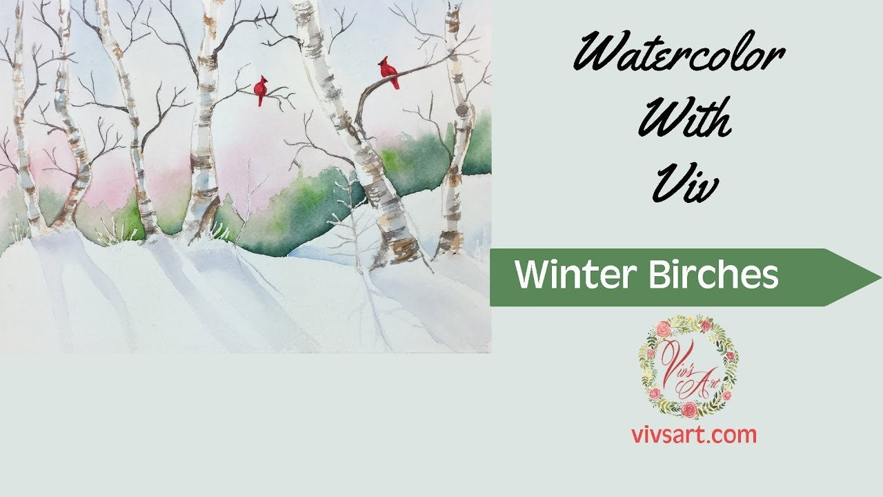 How To Paint An Easy Snowy Winter Scene With Birches in Watercolor