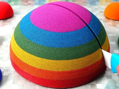 Kinetic Sand Cutting Rainbow Ball DIY How to make Learn Colors for Kids
